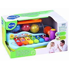 Jucarie xilofon pentru bebelusi Hola, cu mingii si ciocanel, plastic, Multicolor
