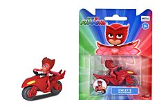 Figurina Owlette cu motocicleta Eroi in Pijamale Dickie, Rosu