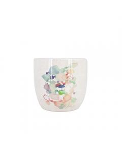 Vas suport flori din ceramica,  17 cm, roz, decorat