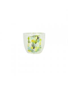 Vas suport flori din ceramica,  14 cm, verde, decorat