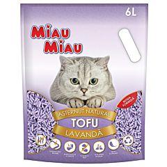 Asternut igienic pentru pisici Miau Miau, tofu, lavanda, 6 L