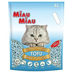 Asternut igienic pentru pisici Miau Miau, tofu, talc, 6 L