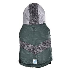 Jacheta cu gluga pentru caini, 35 cm, Verde/Gri