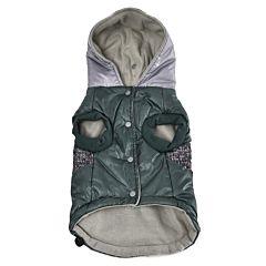 Jacheta cu gluga pentru caini, 45 cm, Verde/Gri