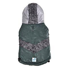 Jacheta cu gluga pentru caini, 40cm, Verde/Gri