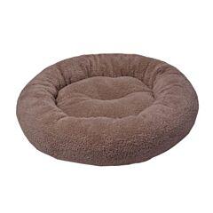 Culcus rotund si pufos pentru caini sau pisici, plush/fibra silicon, 52x9 cm, Bej