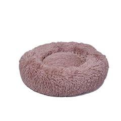Culcus rotund si pufos pentru caini sau pisici, plush/fibra silicon, 50x9 cm, Roz