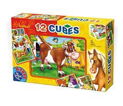Cuburi 12 bucati Animale, D-Toys
