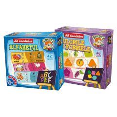 Set 2 jocuri educationale Alfabet&Culori si forme, D-Toys