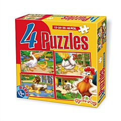 Set puzzle 4 bucati Animale, D-Toys