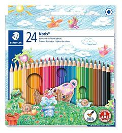 Set creioane colorate Staedtler, forma hexagonala, lemn, 24 buc