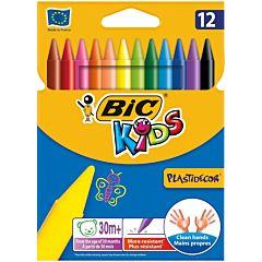 Creioane cerate plastifiate Plastidecor, 12 bucati