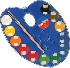 Acuarele cu paleta si pensula Morocolor, diametru pastila 25 mm, 12 bucati/set