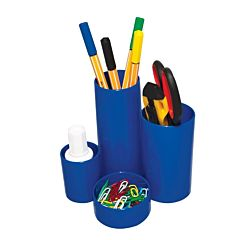 Suport pentru instrumente de scris Flaro, 6 compartimente, plastic, Albastru