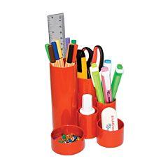 Suport pentru instrumente de scris Flaro, 4 compartimente, plastic, Rosu