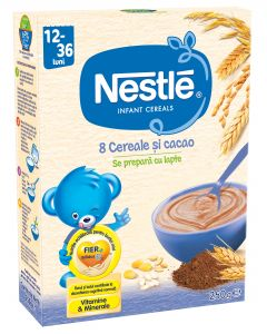 Cereale Nestle 8 Cereale si cacao, 250g, de la 12 luni