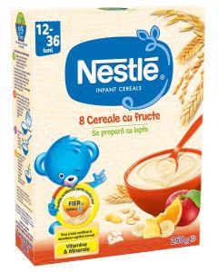 Cereale Nestle  8 Cereale cu Fructe, 250g, de la 12 luni