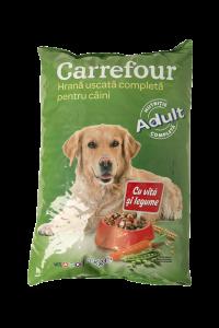 Hrana pentru caini cu vita si legume Carrefour 3 kg