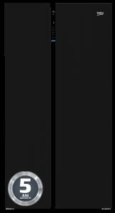 Side by side GN163130ZGB Beko, 573 l, Clasa A++, NeoFrost, Compresor cu inverter, sticla neagra