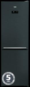 Combina frigorifica RCNA366E30ZXR Beko, 324 l, Clasa A++, NeoFrost, Compartiment 0°C, Kitchen Fit, Everfresh+, Inox Negru