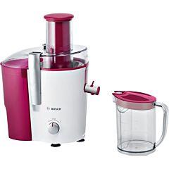 Storcator de fructe si legume Bosch MES25C0, 700W, Recipient suc 1.25L, Recipient pulpa 2L, 2 Viteze, Alb/Visiniu