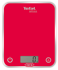 Cantar de bucatarie Optiss BC5003V1 Tefal, 5Kg, Gradatie 1g, Functie pentru lichide, Oprire automata, 2 Baterii AAA, Sticla tratata termic, Rosu
