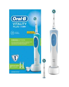 Periuta de dinti electrica Oral-B Vitality Plus Cross Action, 7600 ocilatii/min, Curatare 2D, 1 Program, 2 Capete, Alb/Albastru