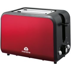 Prajitor paine MT800R-18 Mandine, pentru 2 felii, 870W, comanda mecanica, 5 nivele, tava firimituri, Rosu/Negru