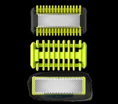 Rezerva Face & Body OneBlade QP220/55 Philips, compatibil OneBlade QP25/26 si OneBladePro QP65/66, Pieptene, 2 lame, Verde