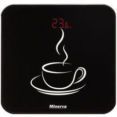 Cantar electronic de persoane Experience Cupcake B12E Minerva, 180 kg, Sticla securizata, Baterii AAA, Pornire/Oprire automata, Negru