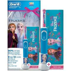 Set periuta de dinti electrica copii + Travel case Oral-B Vitality D100, Frozen, 1 capat, Albastru