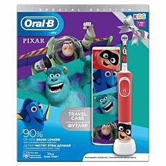 Periuta de dinti electrica Oral-B D100 pentru copii + Box, 7600 oscilatii, 4 abtibilduri