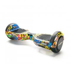 Hoverboard Junior Freewheel, motor 2 x 250 W brushless, viteza 12 km/h, autonomie 20 km, Graffiti Galben