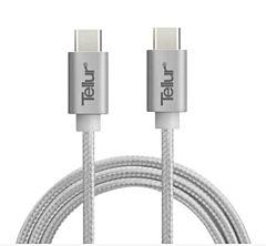 Cablu USB Type-C la USB Type-C Tellur, Nylon, 1 Metru, Argintiu