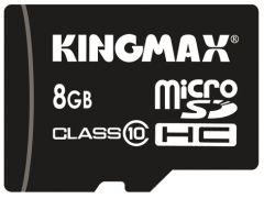 Card de memorie Kingmax 8 GB + Adaptor, microSD, Clasa 10