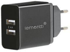 Incarcator retea Lemontti, 2 X USB, 2.4 A