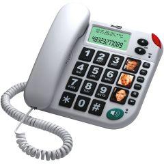 Telefon fix cu fir KXT480 MaxCom, LCD, Apelare rapida, Speaker, Tasta Mute/Pause, Alb