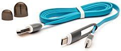 Cablu microUSB cu adaptor Type-C QC301 CML E-boda, Albastru