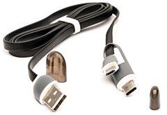Cablu microUSB cu adaptor Type-C QC301 CML E-boda, Negru