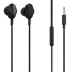 Casti In-ear Ebony Tellur, Cu fir 1.2m, Jack 3.5 mm, Sensibilitate 95dB, Microfon, Negru