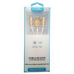 Cablu de date breloc cu 3 conectori Logic, USB, Micro USB si Lighting
