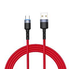 Cablu date Tellur TLL155334, USB/Type-C, lumina LED, 3A, 1.2 m, Rosu