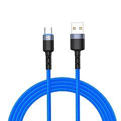 Cablu date Tellur TLL155344, USB/Type-C, lumina LED, 3A, 1.2 m, Albastru