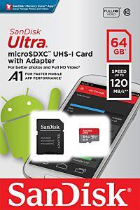 Card de memorie SanDisk Ultra, MicroSDXC, 64GB, 120 MB/s + Adaptor
