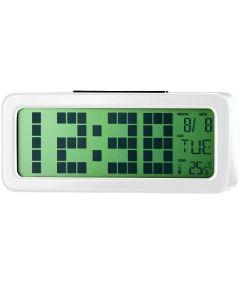 Ceas digital cu alarma PSDC006WH Poss, Ecran 1.25 inch, Senzor temperatura interioara