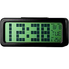 Ceas digital cu alarma PSDC006BK Poss, Ecran 1.25 inch, Senzor temperatura interioara