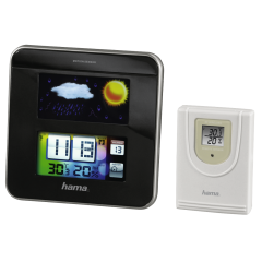 Statie Meteo Color EWS-1200, Functie Ceas, Display Digital, Data, Prognoza, Wireless, Interior/Exterior Umiditate 20/99%, Temperatura 0C/50C, Negru