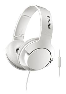Casca over ear cu microfon SHL3175WT/00 Philips, Bass+, Cablu 1.2m, Jack 3.5mm, Alb
