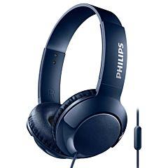 Casca over ear cu microfon SHL3075BL/00 Philips, Bass+, Sistem inchis, Cablu 1.2m, Jack 3.5mm, Albastru