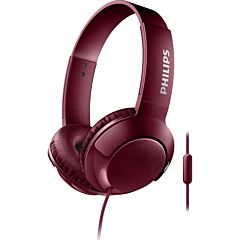 Casca over ear cu microfon SHL3075RD/00 Philips, Bass+, Sistem inchis, Cablu 1.2m, Jack 3.5mm, Rosu